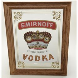 "Nicely-made large oak framed Smirnoff Vodka  bar mirror, approx. 24"" x 18"" in overall fine  conditio"