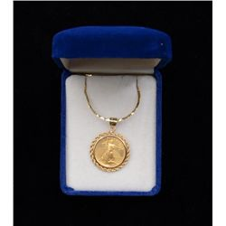 One 10 dollar US gold coin walking liberty in  a rope bezel and special rounded chain.   Est.:  $625