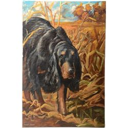 "Good quality original oil painting of hunting  dog in field signed Carolyn L. Parker.  36""  x 24"", n"