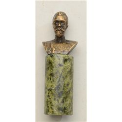 Small bronze on greenstone base signed F.G.  on reverse and dated 1910.  Possibly Czar  Alexander fr