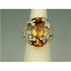 Spectacular 14 karat yellow gold ladies  'BULGARI' inspired ring fine set with a very  large checker