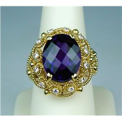 High quality 14 karat heavy yellow gold  ladies intricate handmade ring set with one  fine intense p