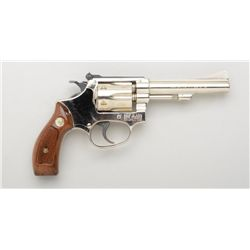 "Smith & Wesson Model 34-1 DA revolver, .22LR,  4"" barrel, nickel finish, checkered wood  medallion g"