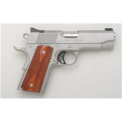 "Kimber Compact Stainless Model, .45 cal., 4""  barrel, satin finish stainless steel,  checkered wood"