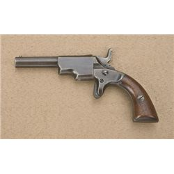 "Rupertus Single Shot Derringer, .22 cal., 3""  barrel, blue finish, wood grips, #38. This  gun is in"