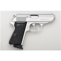 Walther Model PPK/S DA semi-auto pistol, .380  cal., stainless steel, checkered black  plastic grips