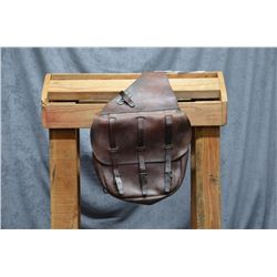 Pair of U.S. leather saddle bags in overall  very good condition with flaps and three  securing stra