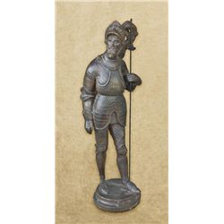 Terra-cotta statue of knight in armor  entitled Bois Guilbert. 19th to early 20th  century, shows a
