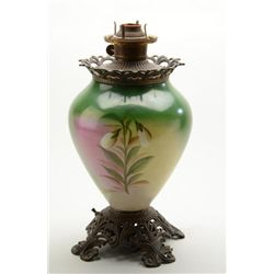 "Beautiful antique large painted glass and  brass hurricane lamp approx. 18"" in height  showing a lov"
