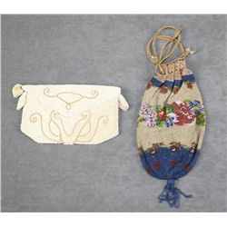 Lot of two early beaded ladies small handbags  circa early 1900s; one is a flap bag with  zipper com
