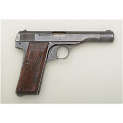 "FN semi-auto pistol, nazi proofed, .32 cal.,  4-1/2"" barrel, blue finish, checkered wood  grips, no"