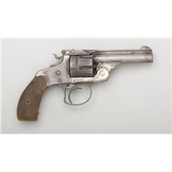 "Smith & Wesson top break DA pocket revolver,  .38 cal., 3-1/4"" barrel, nickel finish,  checkered bla"