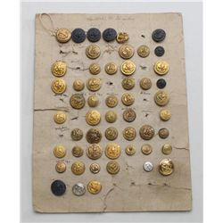 Lot of approx. 54 misc. U.S. uniform brass  and metal buttons of various eras and makers;  great for