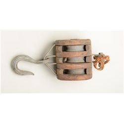 Old wooden and metal three rope pulley block  in overall good uncleaned condition; nice  decorator.