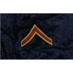 Rare WW I U.S. MG uniform chevron, mustard  color background with red center stripe; in  overall ver