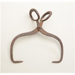 "Classic pair of old iron ice tongs approx.  16"" overall and used in the old days to bring  blocks of"