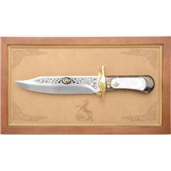Franklin Mint Colt Bowie Knife Commemorative  mounted on display wall hanging frame with  embossed l