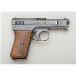 "Mauser Pocket semi-auto pistol, 6.35mm cal.,  3"" barrel, blue finish, checkered wood grips,  #255303"