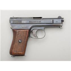 Mauser Pocket Model semi-auto pistol, 6.35mm  cal., 3 barrel, blue finish, checkered wood  grips, #