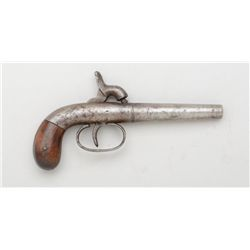 Single Shot American boot-sized percussion  all metal pistol, #262, probably Blunt & Syms  or Allen,
