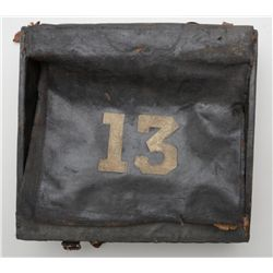 "Civil War era leather and canvas over wood  knapsack in overall fair condition showing a  ""13"" on th"