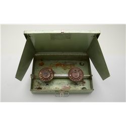 Winchester  Trail Blazer  camp stove.   Propane fueled 2 burner, green painted metal  exterior with