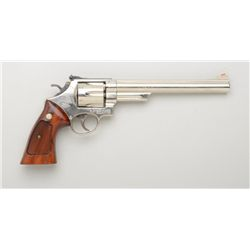 "Smith & Wesson Model 25-5 DA revolver, .45  Colt cal., 8-3/8"" barrel, nickel finish,  checkered wood"