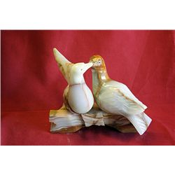 Original Hand Carved Marble  Doves  by G. Huerta