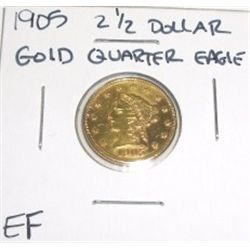 1905 2 1/2 Dollar Gold Quarter Eagle *EXTRA FINE GRADE* Red Book Value is $350.00+!!