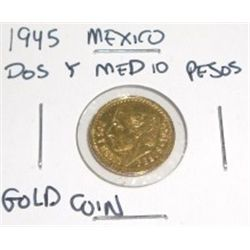 1945 Mexico Dos Y Medio Pesos Gold Coin *Coin weighs .15 ozs*!!