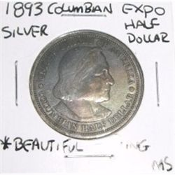 1893 Columbian Expo Silver Half Dollar *MS GRADE BEAUTIFUL TONING*!!