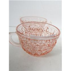 2 pink English Hobnail cups