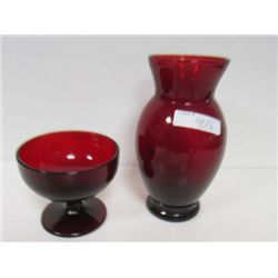 "2 pc ruby red vase 6 3/8""and footed sherbert"