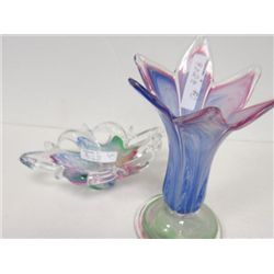 2 pc art glass dish and vase