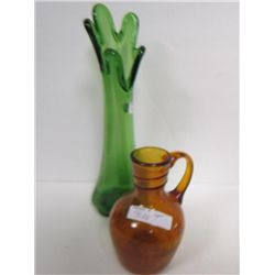 2 pc glass green vase and decanter