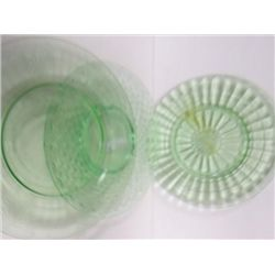 3 green glass depression plates