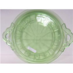 Green depression glass- cake plate
