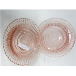 2 pc pink depression glass saucers