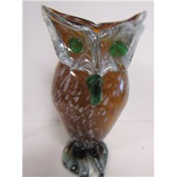 Murano glass owl vase