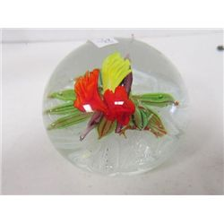 Large paperweight multi colored flower