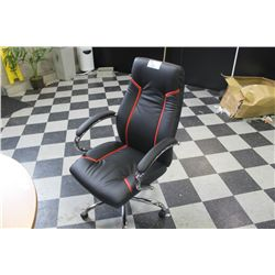 BLACK LEATHER WITH RED TRIM BOARDROOM CHAIR