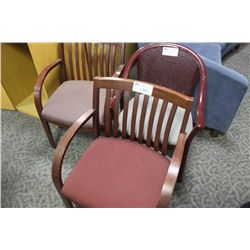LOT OF 3 WALNUT ARM CHAIRS