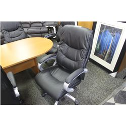 BLACK LEATHER EXECUTIVE HIBACK CHAIR
