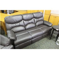 DARK BROWN LEATHER 3 SEAT SOFA
