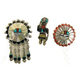 3 Zuni Inlay Pins/Pendants