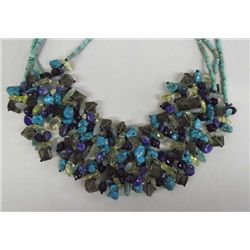 Western Chunky Turquoise Crystal Quartz Necklace