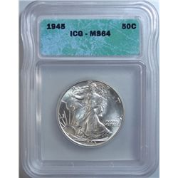 1945 WALKING LIBERTY HALF DOLLAR ICG MS-64