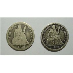 1876-CC & 1877-CC Seated Dimes