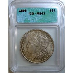 1896 MORGAN DOLLAR ICG MS-63 FANTASTIC COLOR!