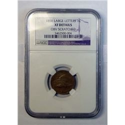 1858 LL FE penny  NGC XF scratched